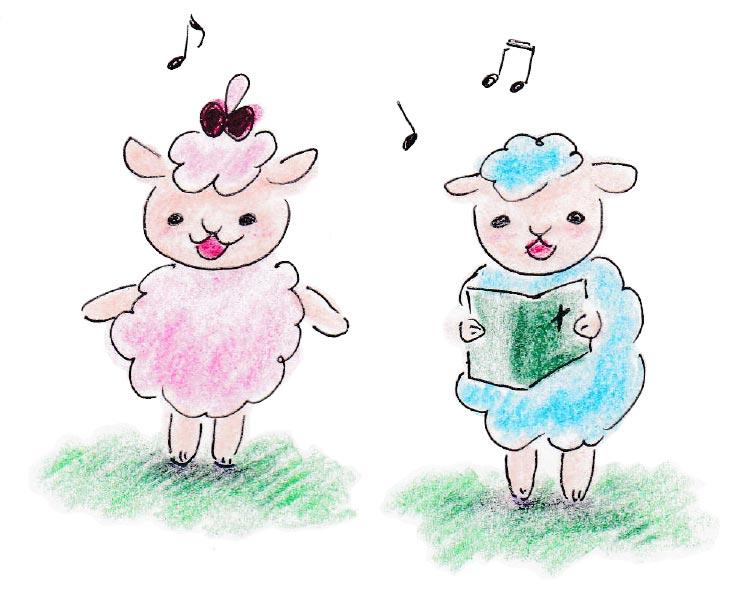 賛美をする羊のペア