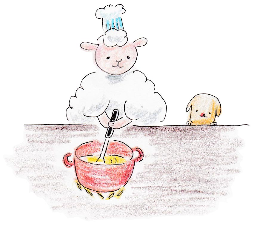料理をする羊